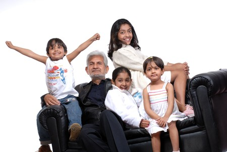 happy grand children with grand father  Stock Photo