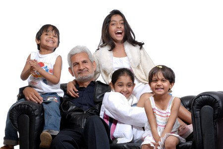 cheerful grand children with grand father
