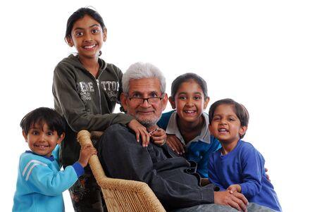 happy grand children with grand father
