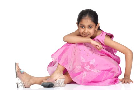 indian child: cute girl wearing party dress  Stock Photo