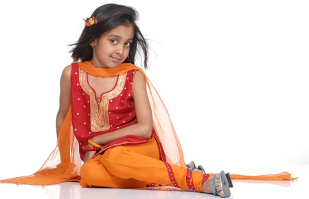 cultural and ethnic clothing: beautiful girl in traditional dress  Stock Photo