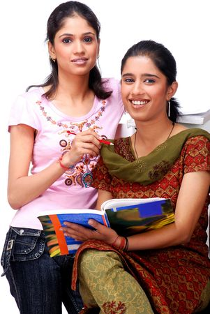 beautiful indian girl face: two college students sitting together