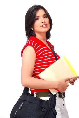 college student holding text book and hanging bag  photo