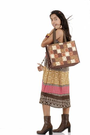 portarit: portarit of girl holding jute bag