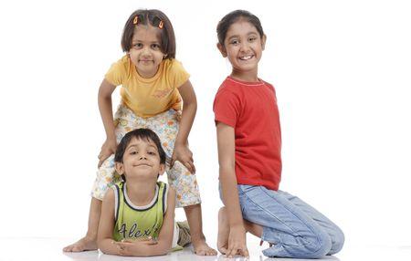 happy children playing in studio