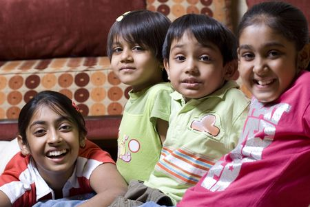 preschool children series in home Standard-Bild