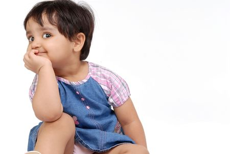2-3 years old baby girl thinking over white background