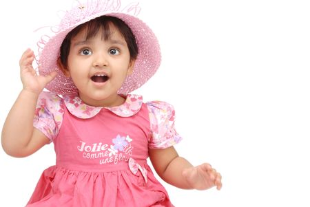 2-3 old year cheerful baby girl wearing hat sitting over white background