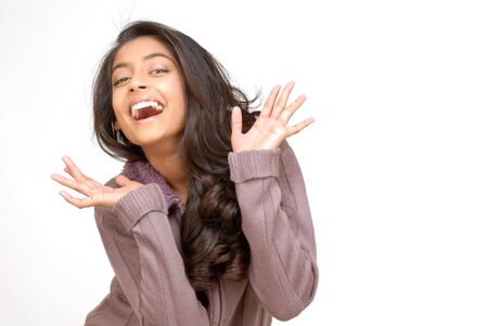 indian girl: indian teenager girl expressing great joy  Stock Photo