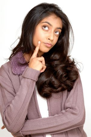 indian teenager girl thinking pensively Standard-Bild