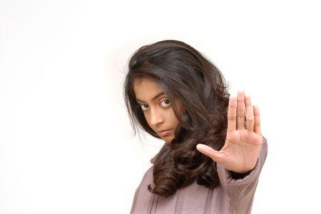 veto: indian girl making stop gesture  Stock Photo