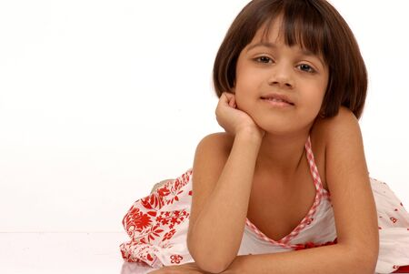 portrait of 5 years old indian girl photo