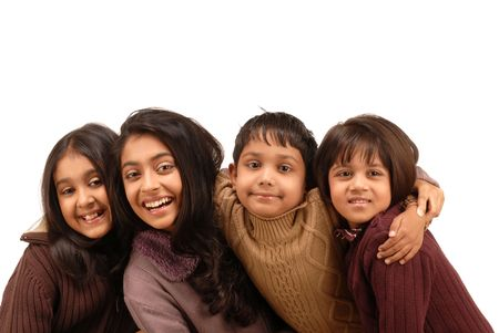 indian children: portrait of fours kids isolated on white background  Stock Photo