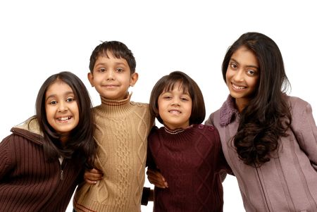 indian boy: brother and sisters on a cold winter day