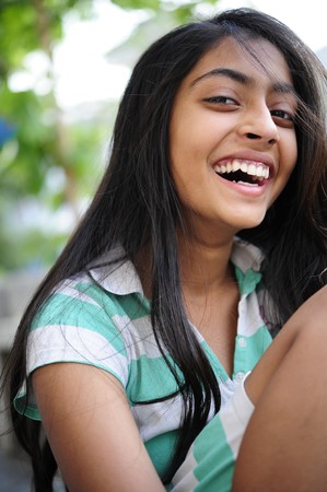 indian girl: smiling indian girl enjoying outdoors