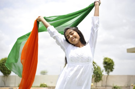 traditionally indian: indian girl celebrating indian independence day