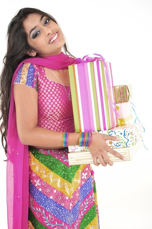 teenage girl dress: Attractive Indian Girl with Gifts