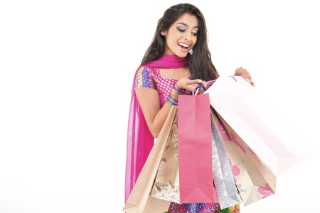 Excited Indian Shopping Girl