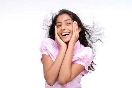 fille indienne: Indian jolie fille avec un geste surprenant Banque d'images