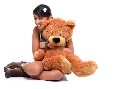 cute girl with teddy bear: Girl with Teddy-bear in an embrace  Stock Photo