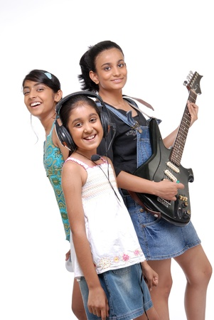 indian girl: Indian girls music band over white background