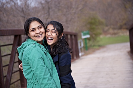 Indian loving mother and daughter in outdoors Standard-Bild