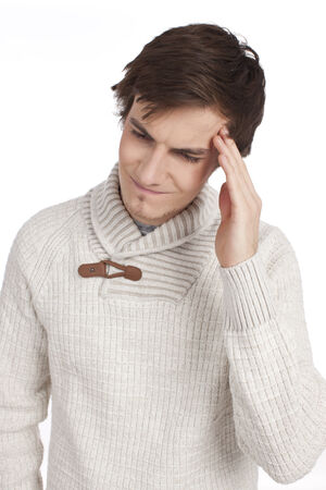 hand on forehead: Man with th hand at his forehead Stock Photo