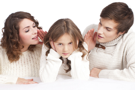 to obey: Parents talking to their child Stock Photo