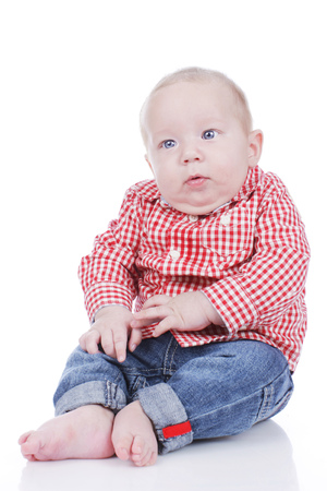 obesity kids: Cute toddler isolated