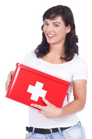 first aid box: Mujer feliz con la caja de primeros auxilios