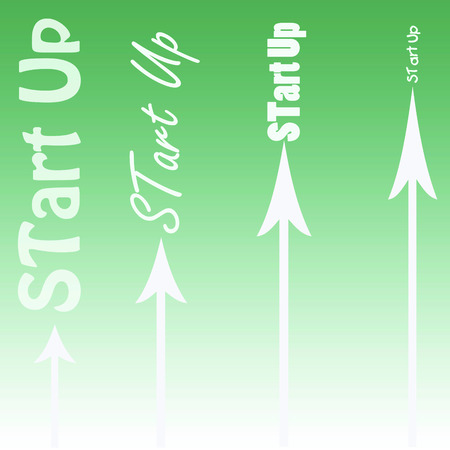 new horizon: Start Up illustration with arrows Stock Photo