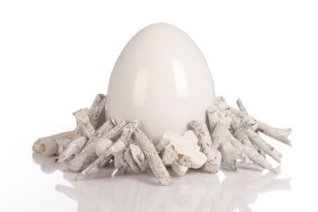 easteregg: White ceramic easter egg isolated Stock Photo