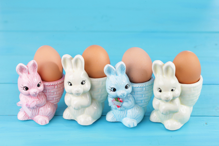 egg cups: colorful egg cups with easter bunny