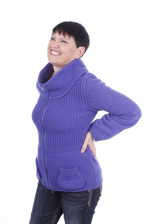 Elderly woman with back pain isolated
