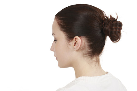 dark haired woman: Dark haired young woman from the back isolated
