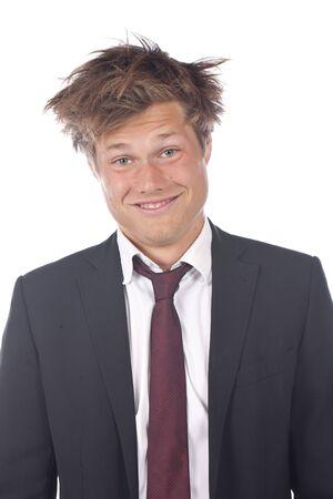 spiky hair: Funny business man with spiky hair isolated