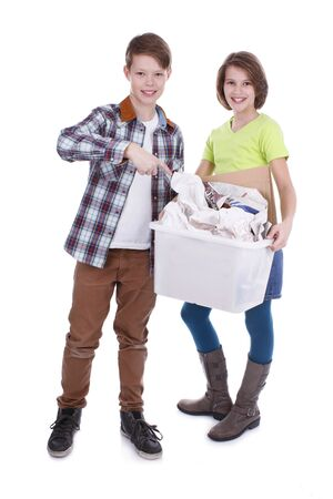 waste paper: Boy and girl with waste paper box for recycling