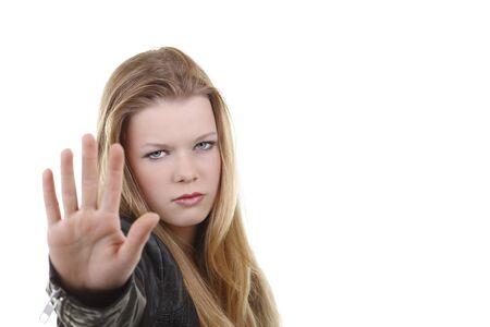 Teenage girl with defensive attitude isolated