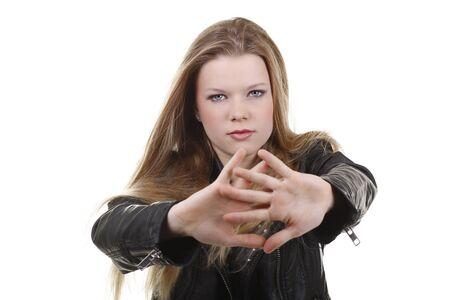 attitude girl: Teenage girl with defensive attitude isolated