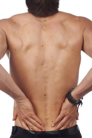 Back of a man with black liver spots on the skin