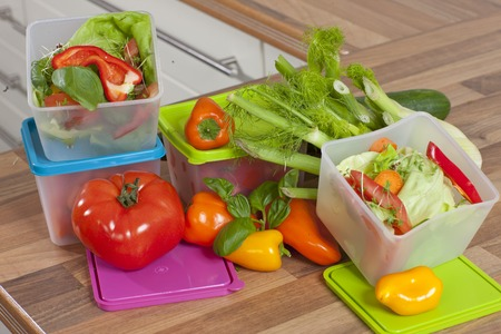 leftover: To store the  leftover of the dinner in plastic boxes Stock Photo