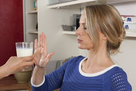 Woman with milk allergy