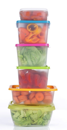 leftover: Different platic boxes for storage with vegetables