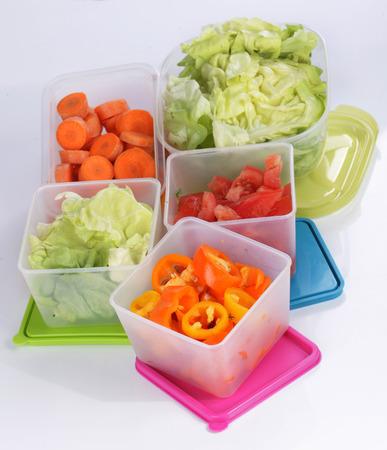 野菜の貯蔵のための異なる platic ボックス 写真素材