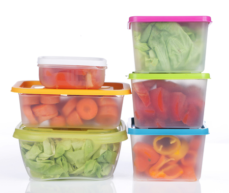 Different platic boxes for storage with vegetables