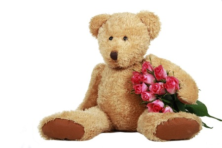 Teddy Bear with roses isolated on white