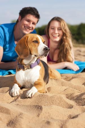 若いカップルが犬とビーチでリラックスします。 写真素材