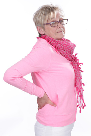 Mujer mayor con dolor de espalda aislado Foto de archivo - 41962672