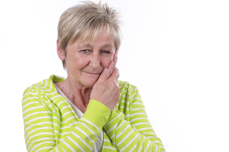 tooth ache: Older woman with tooth ache Stock Photo
