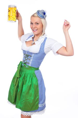 traditional costume: Woman in traditional costume with glass of german beer isolated